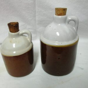 Antique Pair of Small Pottery Crock Jugs Cork Lids Brown and White
