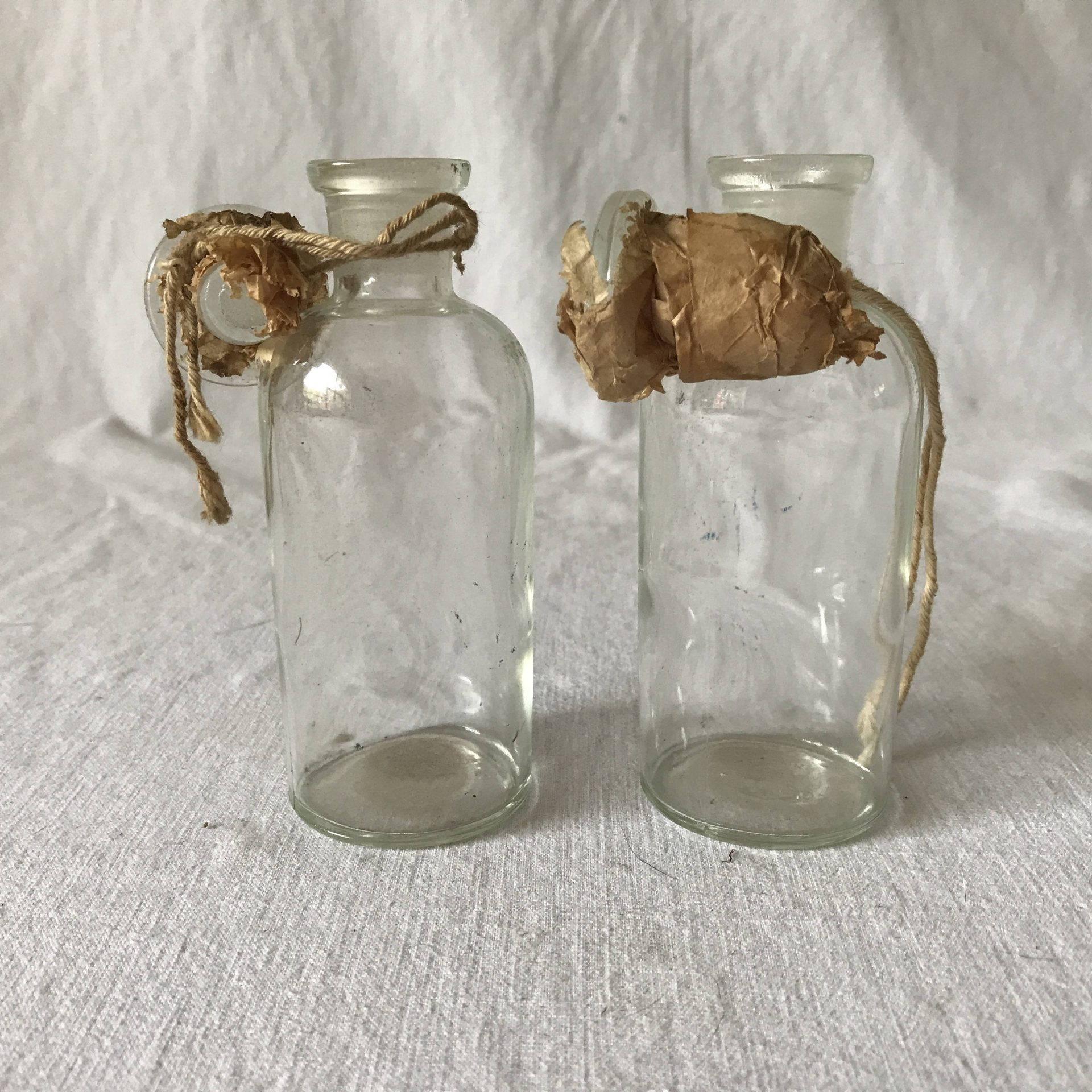 Antique Pair Of Unused Gl Apothecary Jars With Ground Stoppers Still Wred In Paper