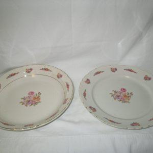 Antique Platter and Serving Bowl Large Floral France Opaque Porcelain Princesse