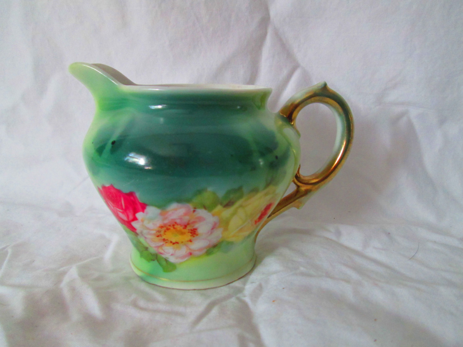 Antique Rare signed Royal Beyreuth Cream Pitcher Early piece Beautiful Condition with Roses Red Pink and Yellow