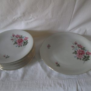 Antique Serving Plate Cookie Dessert Plate with 8 matching dessert plates Fine China Red Rose Gold trim Dessert Set Germany