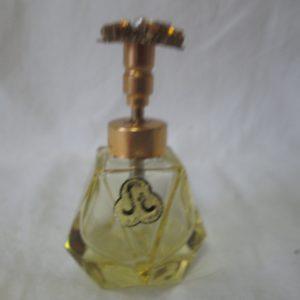 Antique West German Perfumr Bottle Topaz Rhinestone top Beautiful Condition Gold filigree top Original sticker St