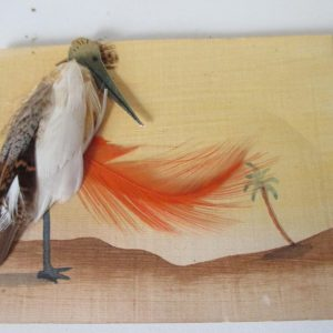 Art deco Art Nouveau French Hand made Greeting card Raised bird made of real feathers Paris vintage souvenir card collectible display