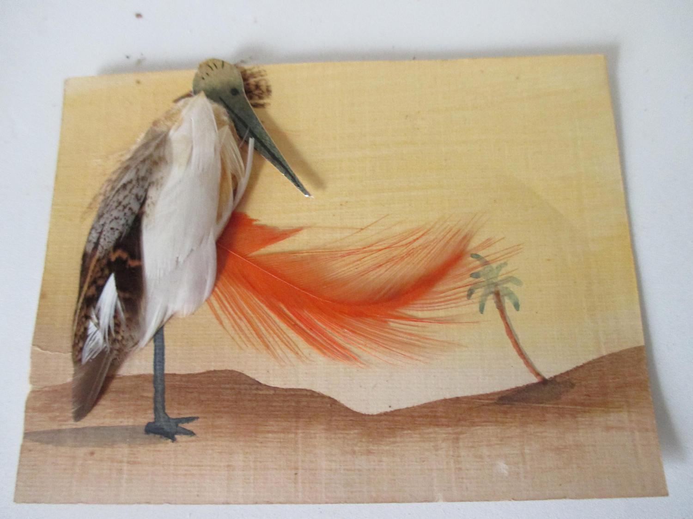 Art deco Art Nouveau French Hand made Greeting card Raised bird made ...
