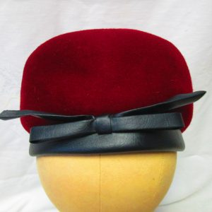 Beautiful 100% Wool, Made in the USA, Pillbox, Burgundy Sears Millinery  Women's Hat Great condition Faux leather brim and bow