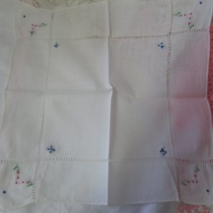 Beautiful 1940's embroidered hankie handkerchief hemstitch trim hand embroidered white cotton