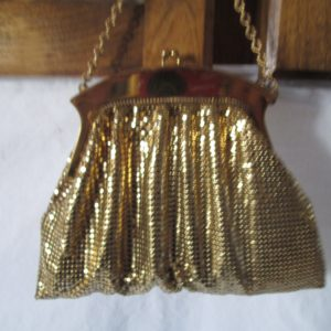 Beautiful 1940's Mesh Gold Whiting and Davis made in USA Gold Evening Bag Gold trim Chain Handle purse