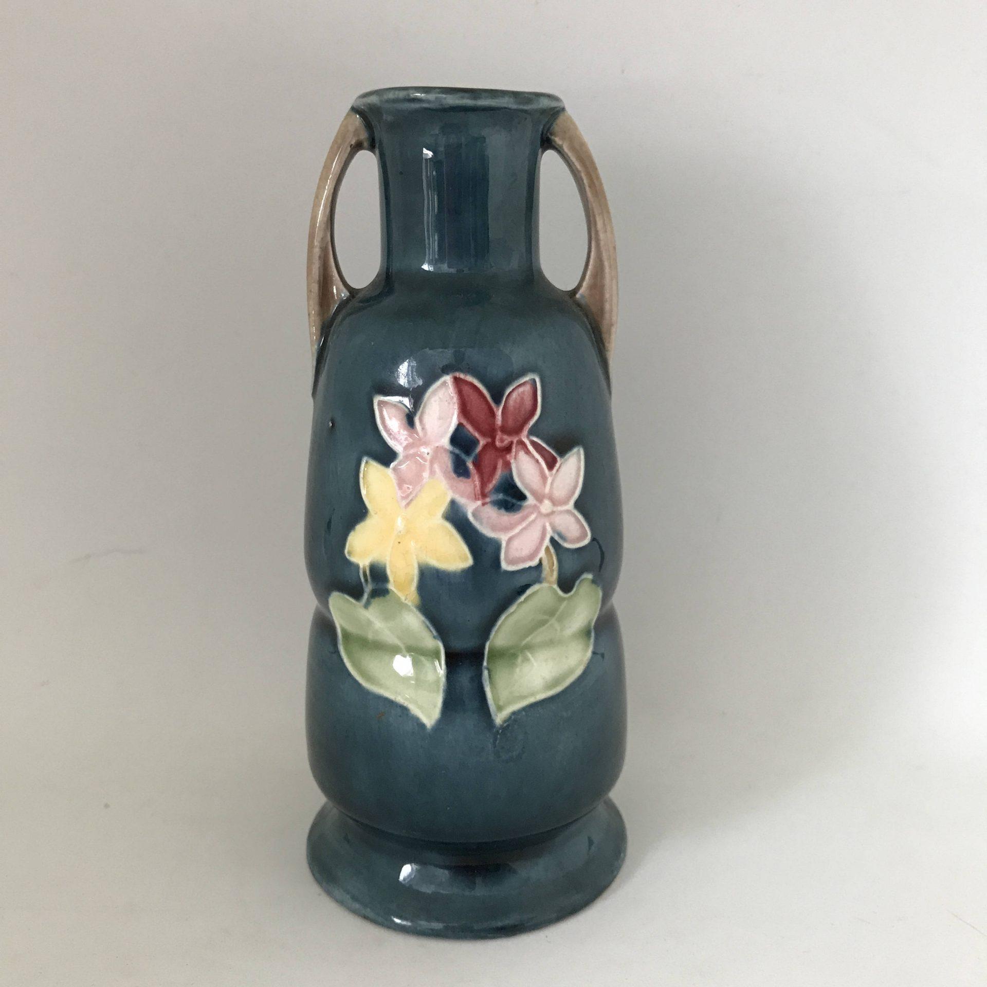 Beautiful Antique double handled pottery vase Ampora Vase Hand painted detailed raised edge flowers