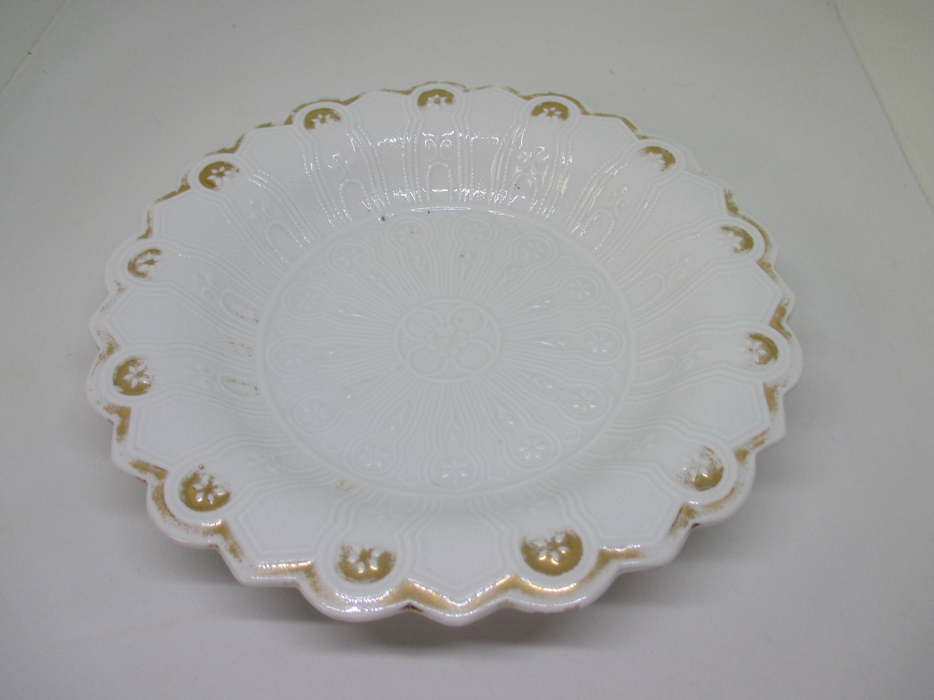 Beautiful Antique Dresden Serving Bowl Ornate pattern Fine bone china 1800's white with gold trim cottage collectible display home kitchen