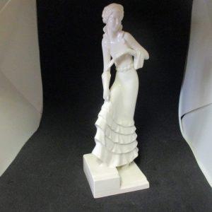 Beautiful Antique Germany Woman Figurine Fine Bone China 1940's Style Dress All White Fine China Woman statue Cottage Art Deco Art Nouveau