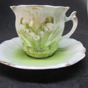 Beautiful Antique Lily of the valley Tea cup and Saucer Cottage Shabby Chic Victorian Decor collectible display hand painted