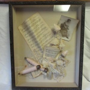 Beautiful Antique Picture Wooden Spools of light pink thread music sheets detailed frame fringe lace roses silver thread Shadowbox