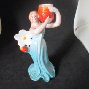 Beautiful Antique Woman statue Art Deco Art Nouveau Collectible Figurine Candlestick holder Cottage shabby chic display dark aqua dress