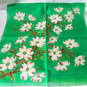 Beautiful Bright Green with White Dogwood Ivory and beige flowers with original label mid century hankie handkerchief 14x14