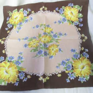 Beautiful Brown Hankie with Yellow and blue flowers Fantastic pattern great condition mid century handkerchief