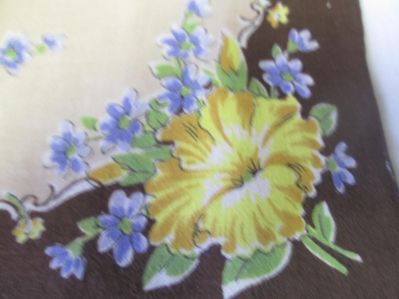 Beautiful brown hankie with yellow and blue flowers fantastic beautiful brown hankie with yellow and blue flowers fantastic pattern great condition mid century handkerchief izmirmasajfo