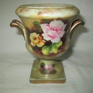 Beautiful Enesco Japan Hand Painted Pedestal Urn Pink and Yellow Roses