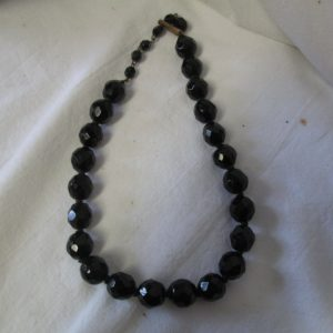 Beautiful faceted black glass beads 1940's Western Germany