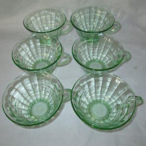 Beautiful green depression glass set of 6 block pattern teacups