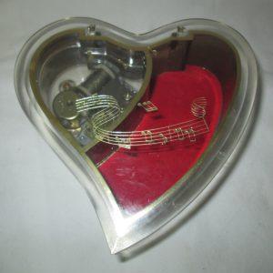Beautiful Heart Shape Music Jewelry Box Mid Century Sanyko Japan Musical Movement Lined