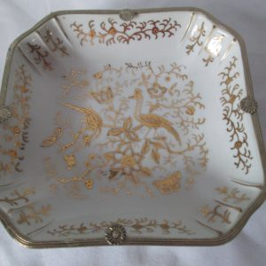 Beautiful Japanese Gold trimmed Porcelain bowl Dish Gold metal trim