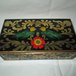 Beautiful Japanese Painted Box Gold Scrolls Birds