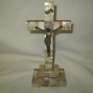 Beautiful Mother of pearl Crucifix Italian Wooden with Mother of pearl overlay Cross