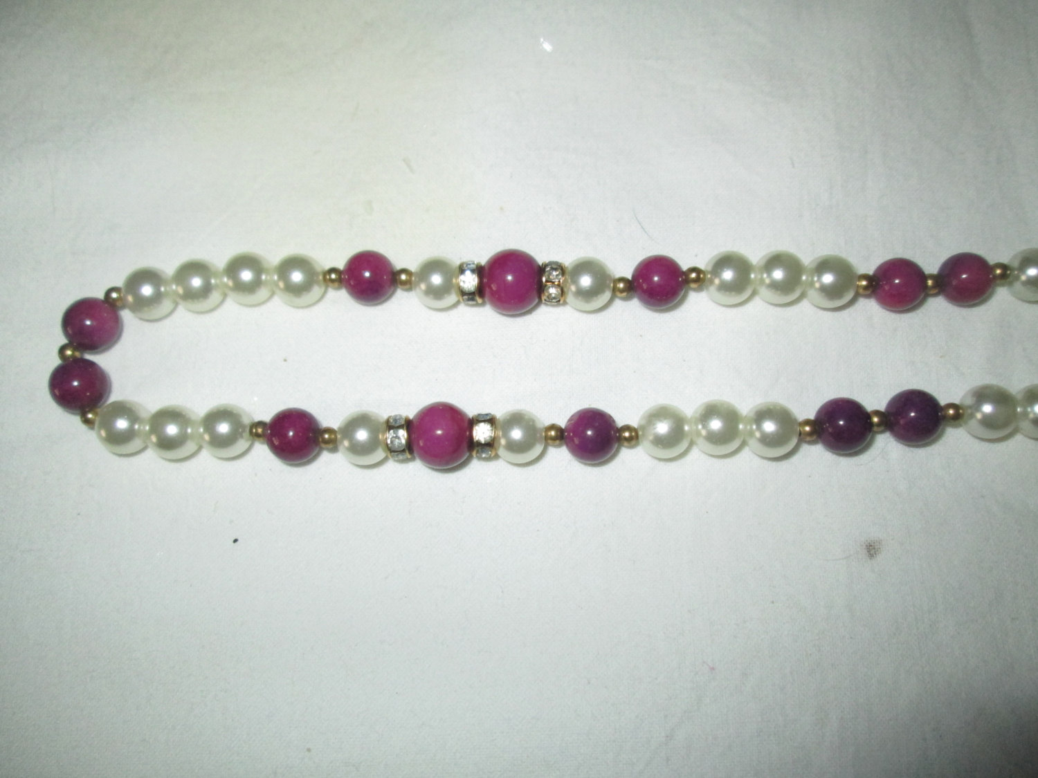 Beautiful Necklace Pearl with purple glass beads gold trim beads with rhinestones between