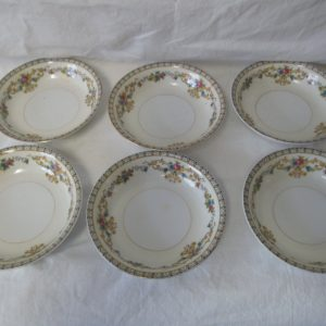 "Beautiful Noritake Japan Mid Century Fine Bone China Floral Pattern Berry Fruit Dessert Bowls 5 1/4"" across 1 1/2"" tall set of 6"