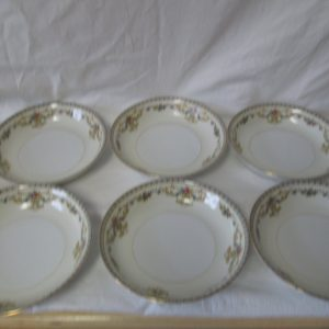 "Beautiful Noritake Japan Mid Century Fine Bone China Floral Pattern Cream Soup Bowls 7 3/4"" across 2"" tall set of 6"