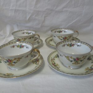 Beautiful Noritake Japan Mid Century Fine Bone China Floral Pattern Set of 4 Tea Cups and Saucers