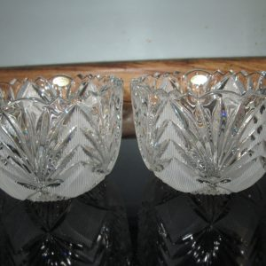 Beautiful Pair Unused with original label lead crystal bowls USSR Etched large Dessert Bowls Decorative Serving Decor Collectible