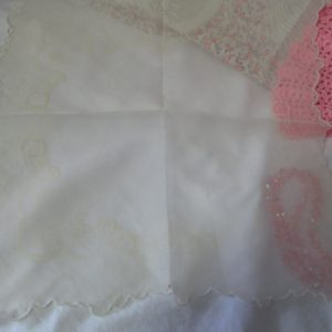 Beautiful Sheer Pale Yellow Printed Hanky Scalloped Edges collectible cottage decor shabby chic display