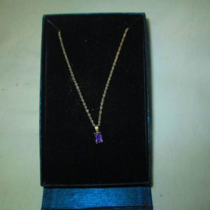 Beautiful Sterling Silver Necklace with Amethyst Stone Pendant in original box