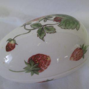 Beautiful Strawberry Adorned Colport Egg Shape Trinket Box Vintage decor collectibles
