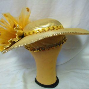 Beautiful True Gold Vintage Large Brim Hat Kentucy Derby Deborah Fashions Lots of Gold Trim