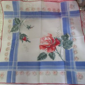 Beautiful Unused New old stock cotton printed handkerchief hankie rose floral