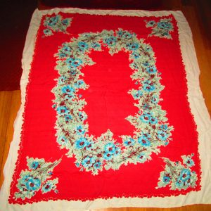 """Beautiful Vintage Linen Bright Red and white with Blue Roses...Fantastic  48"""" x 62"""""""