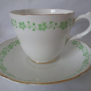 Beautiful Vintage Tea Cup and Saucer Fine Bone China English Castle Saffordshire England White with green leaves & berries