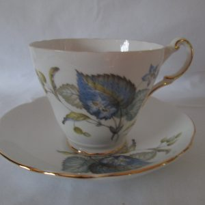 Beautiful Vintage Tea Cup and Saucer Fine Bone China Regency English China Blue and green leaves berries flowers