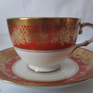 Beautiful Vintage Tea Cup and Saucer Fine Bone China Royal Chelsea England Rust with gold scrolls & handle