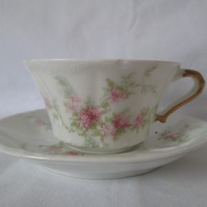 Beautiful Vintage Tea Cup and Saucer Fine Bone China Theadore Haviland Limoges France Pink Floral tea cup and saucer