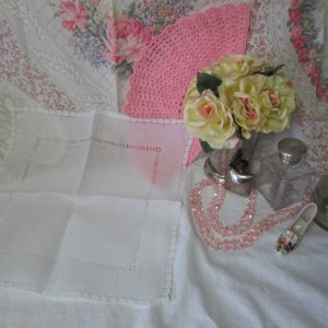 Beautiful White hand drawn cotton lace and cut work hankie handkerchief