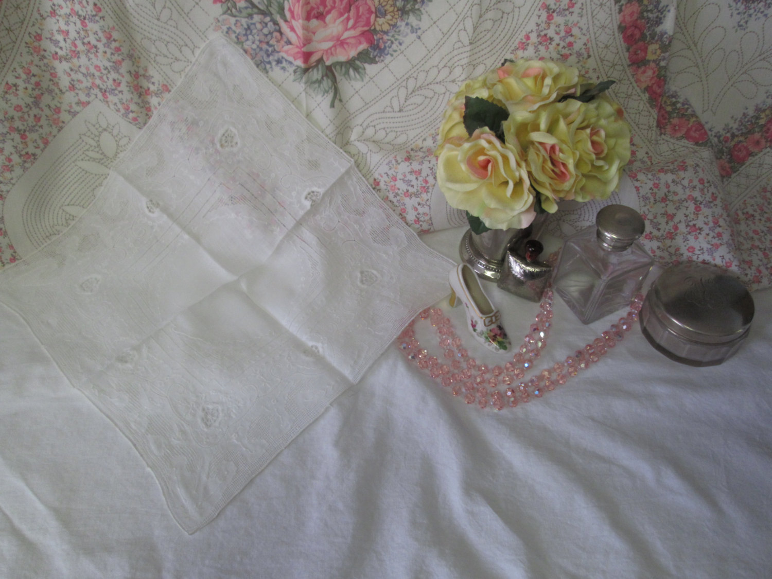Beautiful white on white lace and Embroidery with Cut work tiny lace hankie collectible display cottage shabby chic