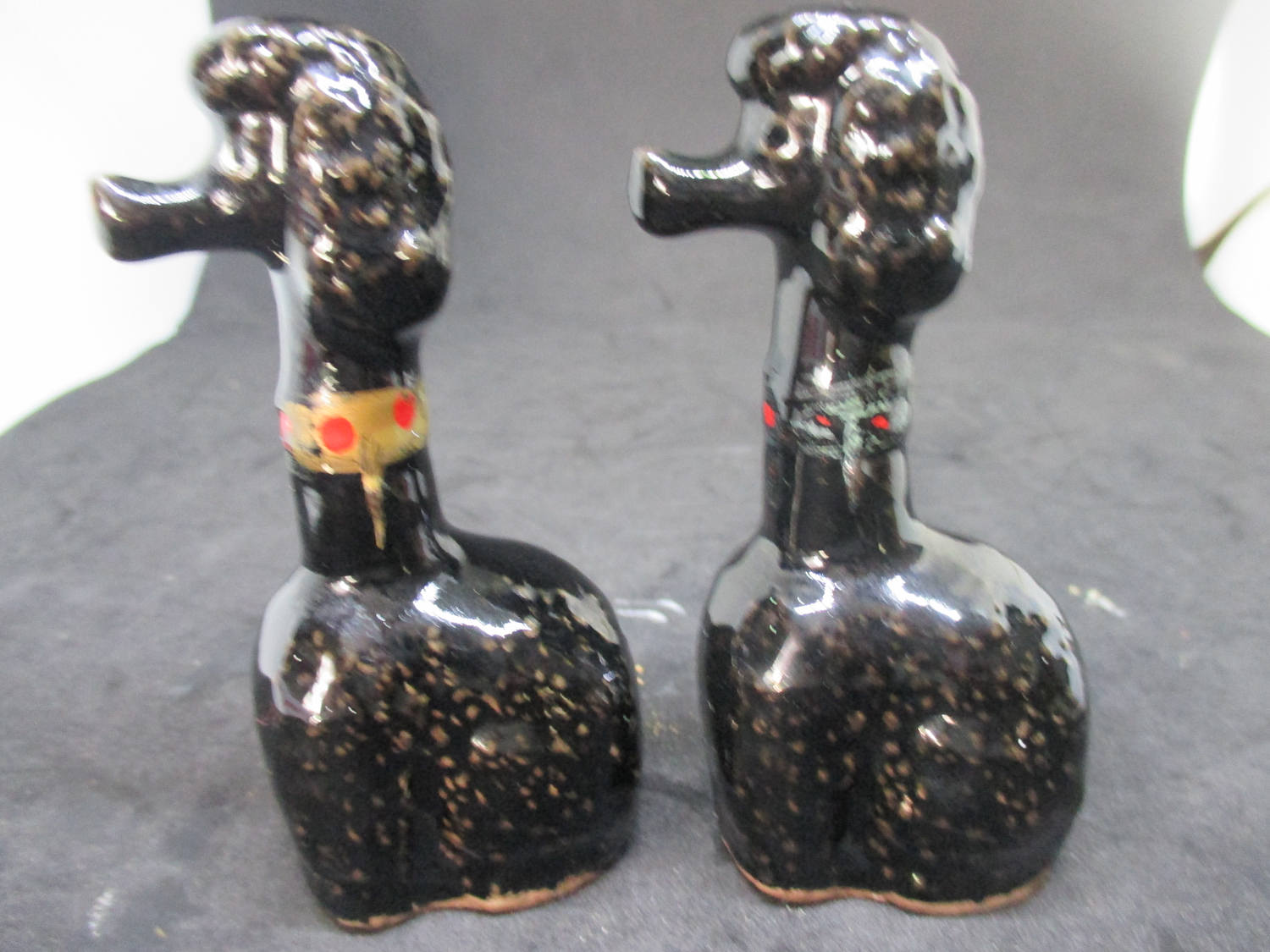 Black Tall Poodles Salt & Pepper Shakers decor collectible display tableware dinning kitchen farmhouse cottage war time Japan Pottery