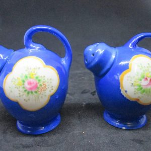 Blue Tilt Pitcher style porcelain Threads Salt & Pepper Shakers decor collectible display tableware dinning kitchen cottage 1950's farmhouse