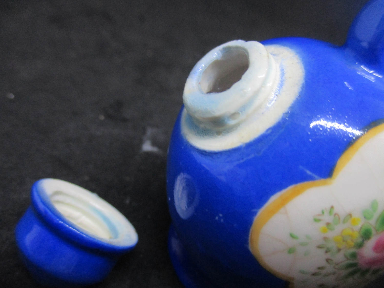 Blue Tilt Pitcher style porcelain Threads Salt & Pepper Shakers decor collectible display tableware dinning kitchen cottage 1950's farmhouse