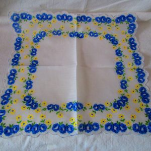 Bright Blue Floral Unused Mid Century Cotton Printed Hankie Handkerchief 11x11