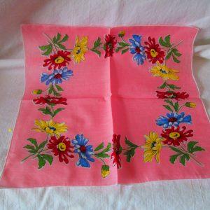 Bright Pink Floral Unused Mid Century Cotton Printed Hankie Handkerchief 12x12