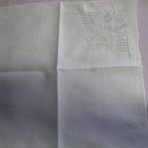 Delicate Embroidered white hanky with embroidered flowers and cut work handkerchief